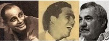 Amaury Pérez primero a la izquierda. Al centro Joaquín M. Condal. A la derecha Manolo Rifat.